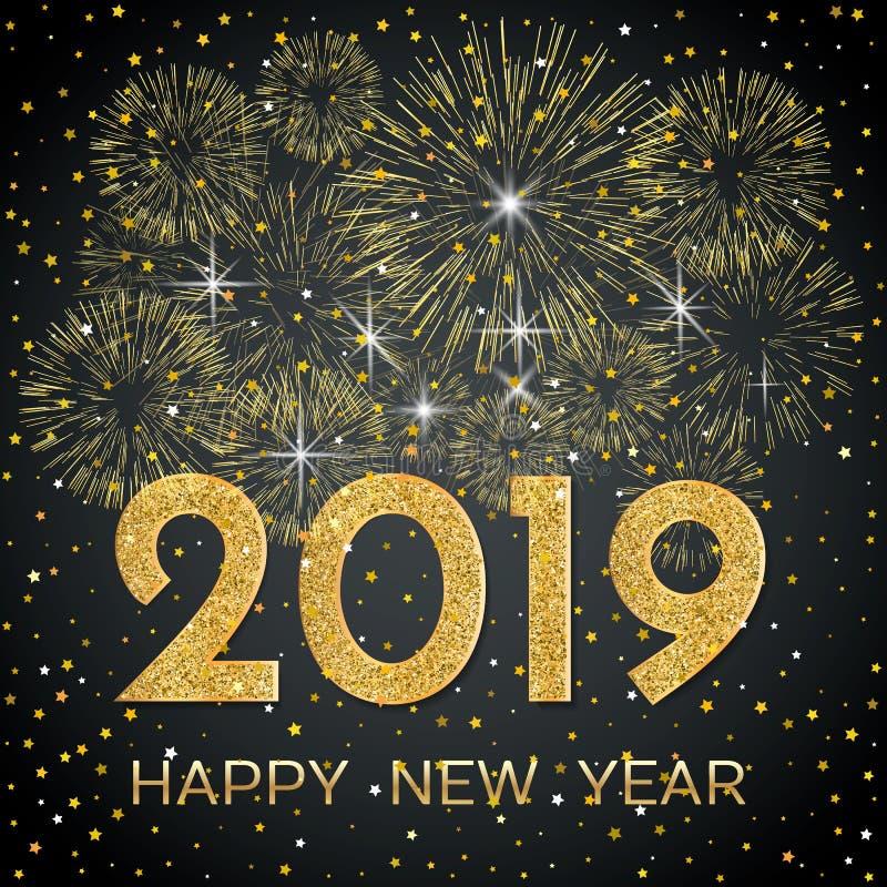 2019 lyckliga nya år Guld- fyrverkerier och stjärnor på mörk bakgrund vektor illustrationer
