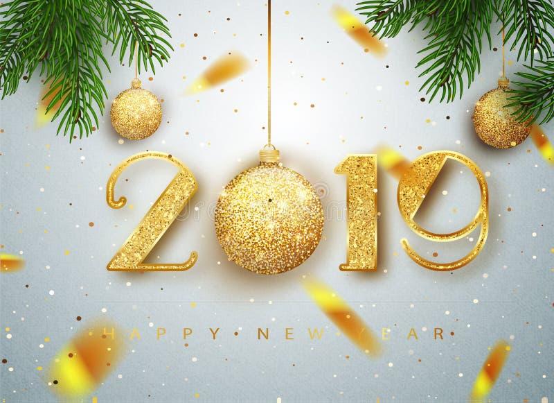 2019 lyckliga nya år Guld- nummerdesign av hälsningkortet av fallande skinande konfettier Guld- glänsande modell Lyckligt nytt… ö vektor illustrationer