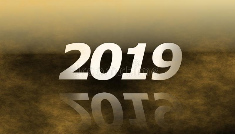 2019 lyckliga nya år med dimma vektor illustrationer