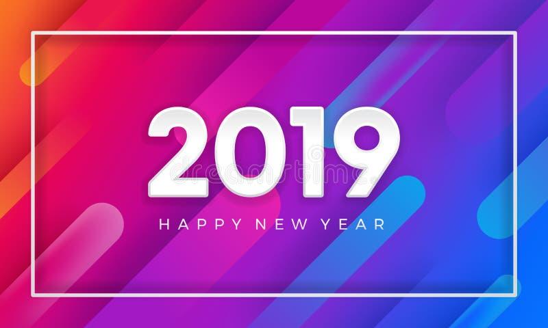 2019 lyckliga nya år med dynamisk färgvektorbakgrund bakgrund för vektor 3D stock illustrationer