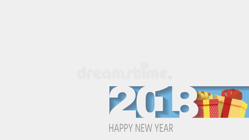 2018 lyckliga nya år Nummerdesign av hälsningkortet stock illustrationer