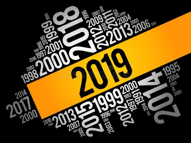 2019 lyckliga nya år och föregående år royaltyfri illustrationer