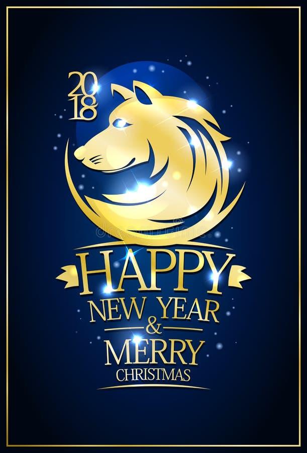 2018 lyckliga nya år och glad julkort stock illustrationer