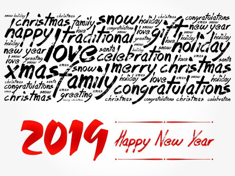 2019 lyckliga nya år vita röda stjärnor för abstrakt för bakgrundsjul mörk för garnering modell för design royaltyfri illustrationer