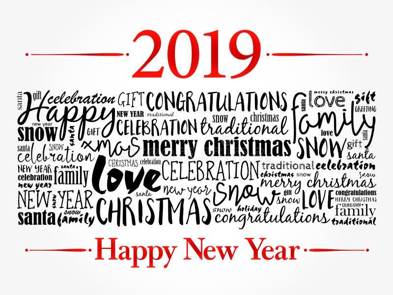 2019 lyckliga nya år vita röda stjärnor för abstrakt för bakgrundsjul mörk för garnering modell för design stock illustrationer