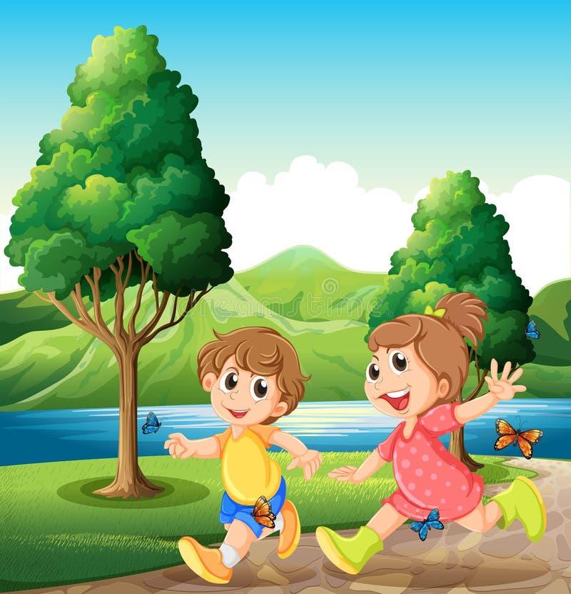 Lyckliga och driftiga ungar som spelar nära floden vektor illustrationer