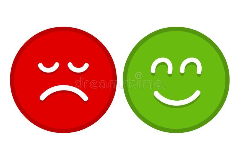 Lyckliga och ledsna Emoji v?nder mot den plana vektorn f?r Apps och Websites vektor illustrationer