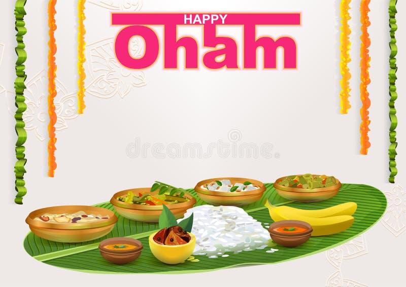 Lyckliga Onam Mat för hinduisk festival i Kerala royaltyfri illustrationer