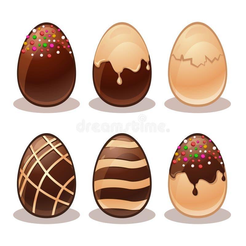 Lyckliga Påsk-järn- och vita chokladägg vektor illustrationer