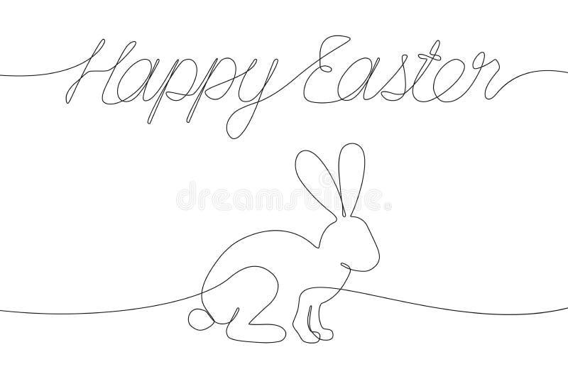 Lyckliga påskgarneringar med en linje inskrift och kanin Fortlöpande linje teckningsbokstäver och kanin för den holyday påsken stock illustrationer