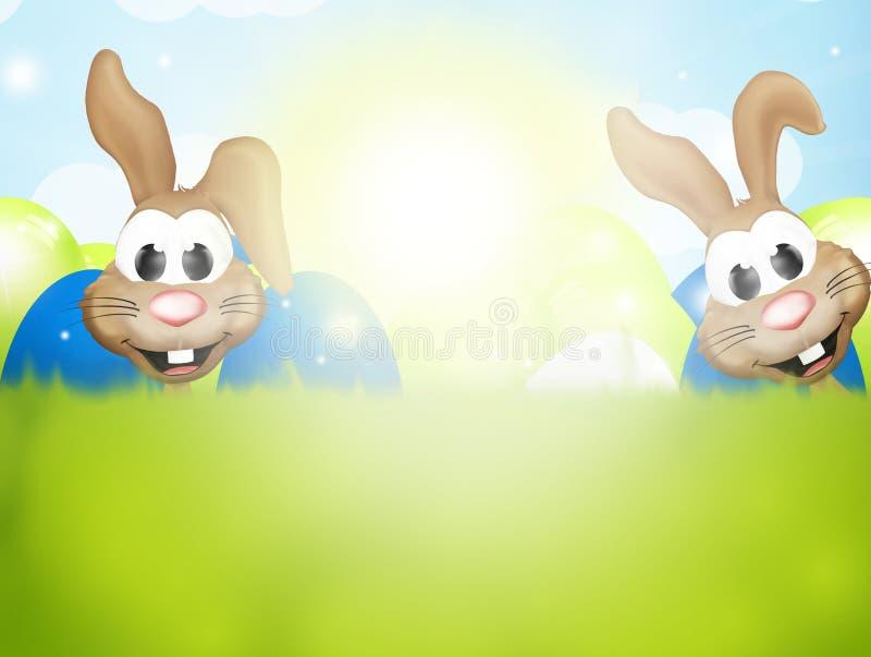 Lyckliga påskkaniner stock illustrationer