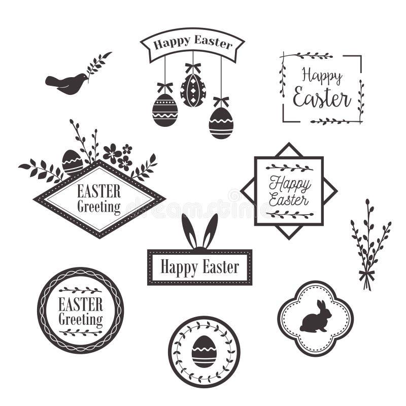 Lyckliga påskmallar, symboler, etiketter med fåglar, ägg och kaniner royaltyfri illustrationer
