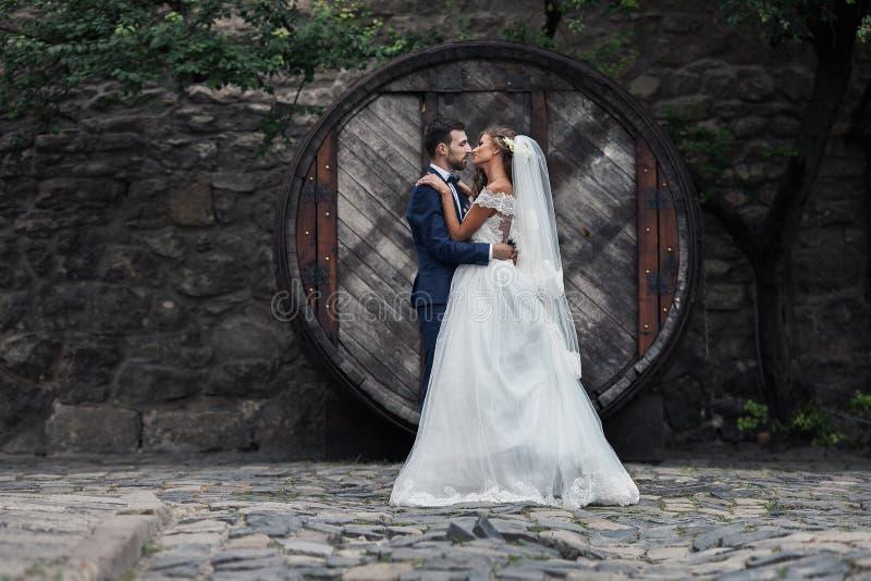 Lyckliga par av nygift personvalentynes som kramar och poserar med hobb fotografering för bildbyråer