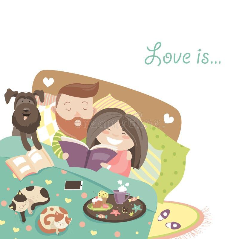Lyckliga par i säng med katter och hunden royaltyfri illustrationer