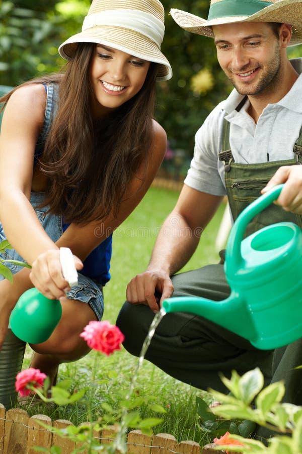 Lyckliga par i trädgården fotografering för bildbyråer