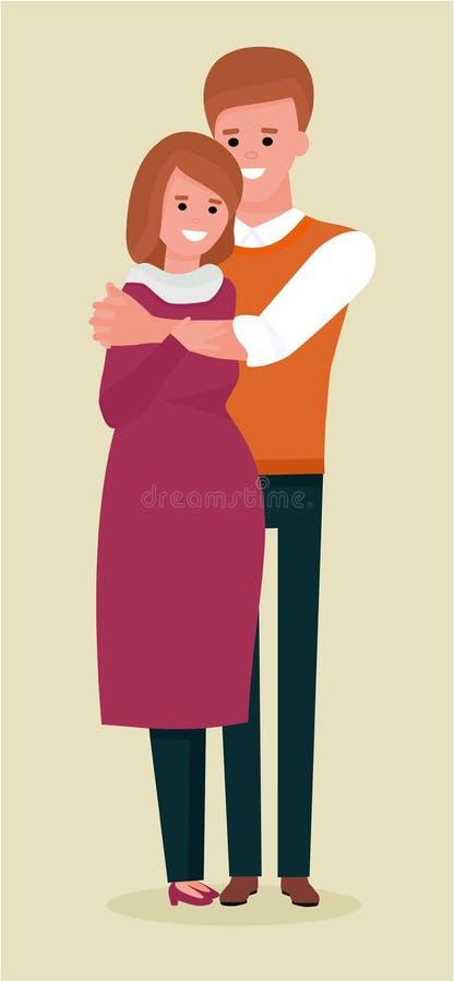 Lyckliga par, make och gravid fru Illustration för vektortecknad filmlägenhet Isolerat på beige bakgrund stock illustrationer