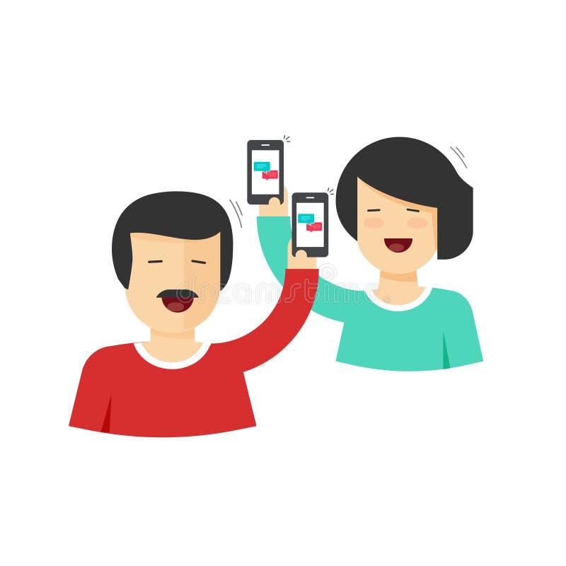 Lyckliga par man och hållande mobiltelefoner för kvinna i händer med att prata stock illustrationer