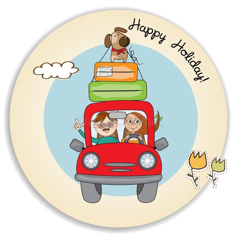 Lyckliga par med deras hund som reser med den roliga röda bilen Affisch f?r sommarferie vektor illustrationer