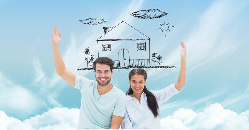 Lyckliga par med det dröm- huset i himmel arkivbild