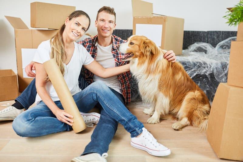 Lyckliga par med hunden på flyttningen fotografering för bildbyråer