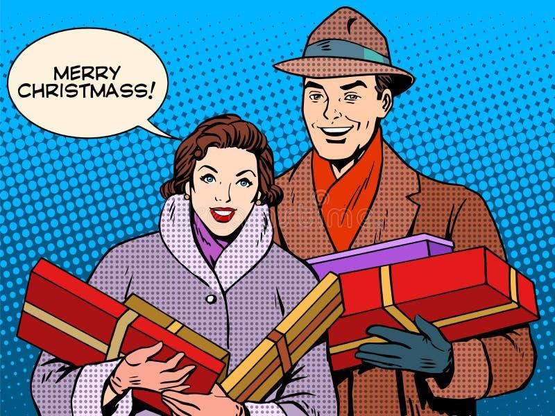 Lyckliga par med julgåvor stock illustrationer