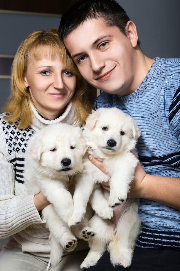 Lyckliga par med schweizareherden Puppy arkivbilder