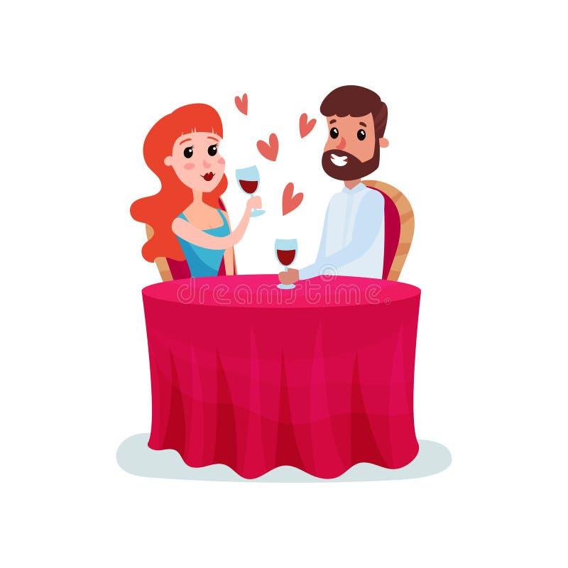 Lyckliga par som är förälskade på ett datum, man- och kvinnasammanträde på tabellen och att ha illustrationen för matställeteckna stock illustrationer