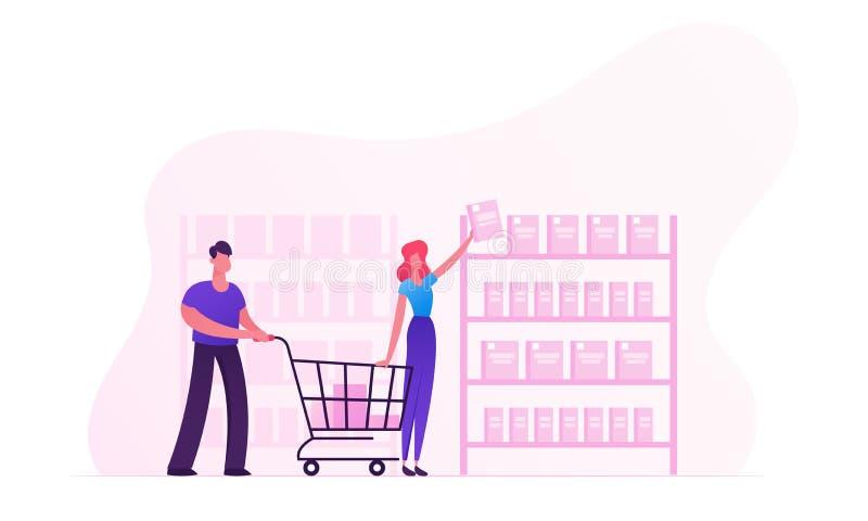 Lyckliga par som gör köp i lagerkvinnan som tar produkter från, shoppar hyllamannen som skjuter shoppingvagnen Köpande mat för fa stock illustrationer