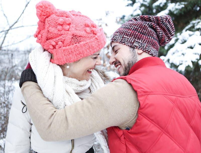 Lyckliga par som kysser i vinter royaltyfri bild