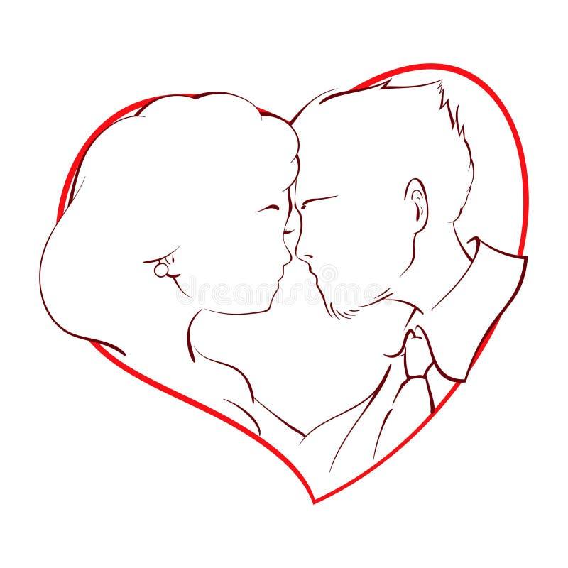 Lyckliga par som kysser inom en röd hjärta stock illustrationer