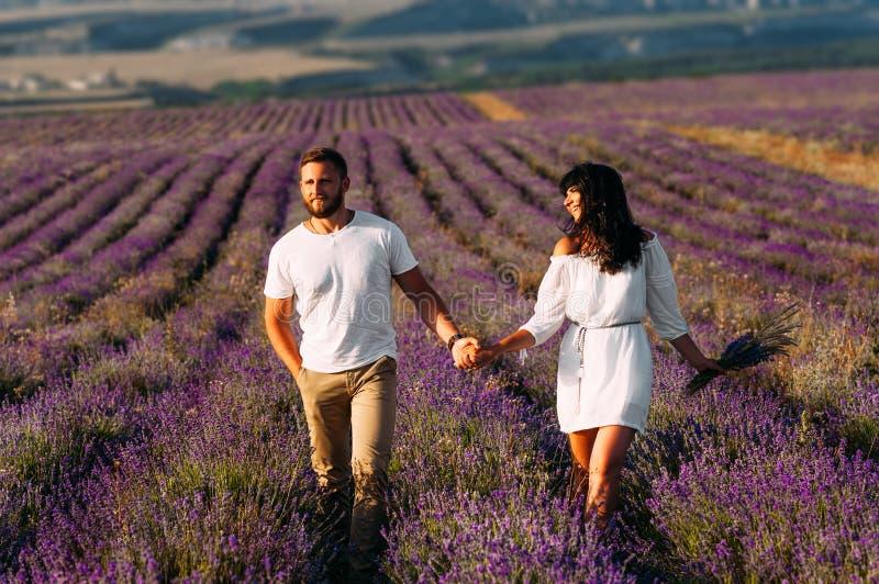 Lyckliga par som rymmer händer i lavendelfält Koppla ihop förälskat på blommafält Br?llopsresatur F?lj mig Härliga par på arkivfoton