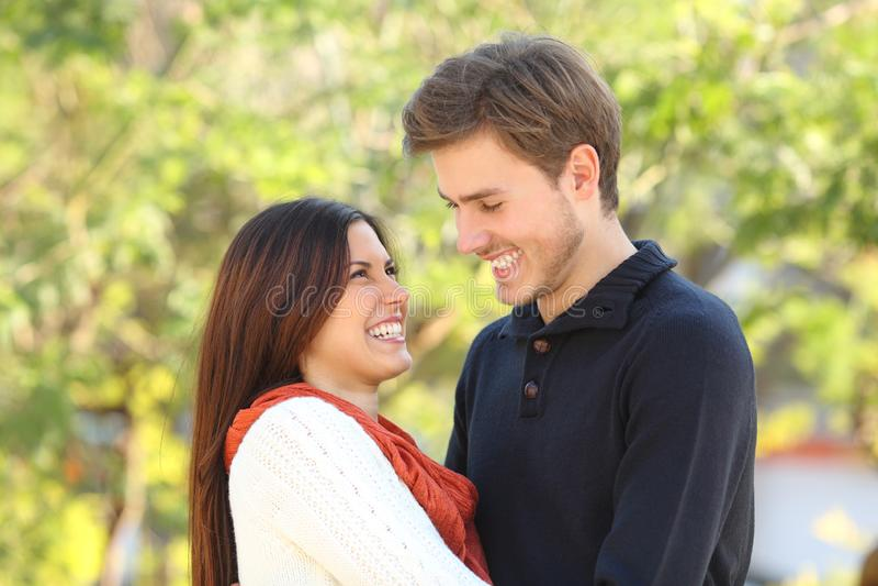 Lyckliga par som ser sig som är förälskad arkivfoto