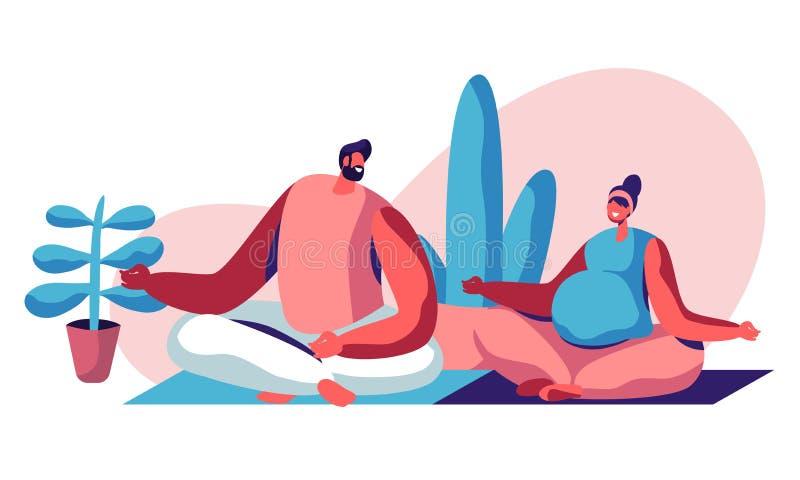 Lyckliga par som sitter i Lotus Pose i idrottshall Man och gravid kvinna som besöker barnuppfostrangrupper, yogaavkoppling lyckli royaltyfri illustrationer