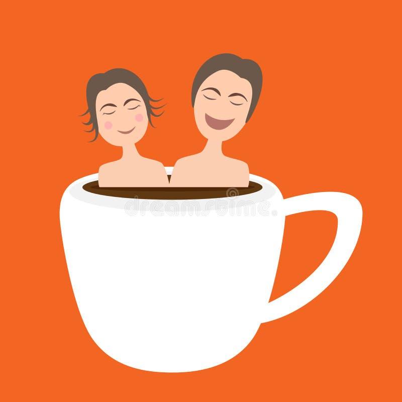 Lyckliga par som tar badet onsen in, den varma kaffekoppen royaltyfri illustrationer