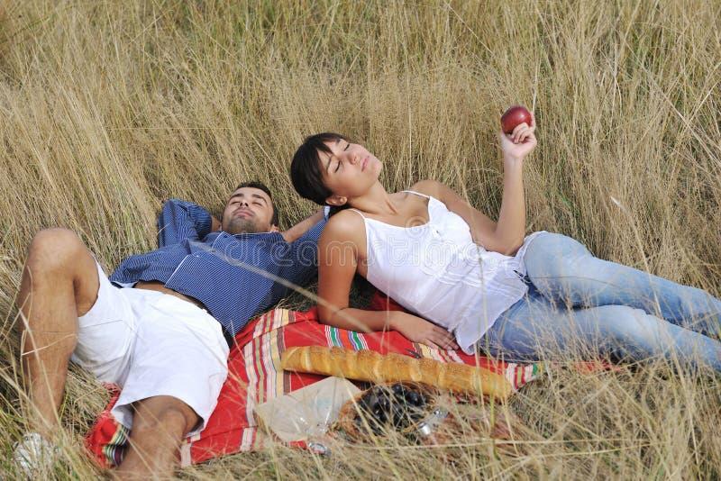 Lyckliga par som tycker om bygdpicknicken arkivbild
