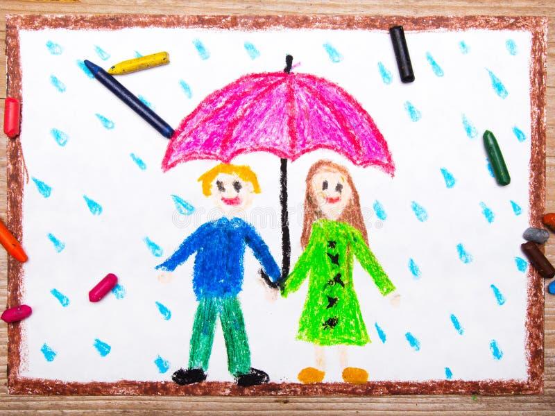 Lyckliga par under det rosa paraplyet, regnigt väder stock illustrationer
