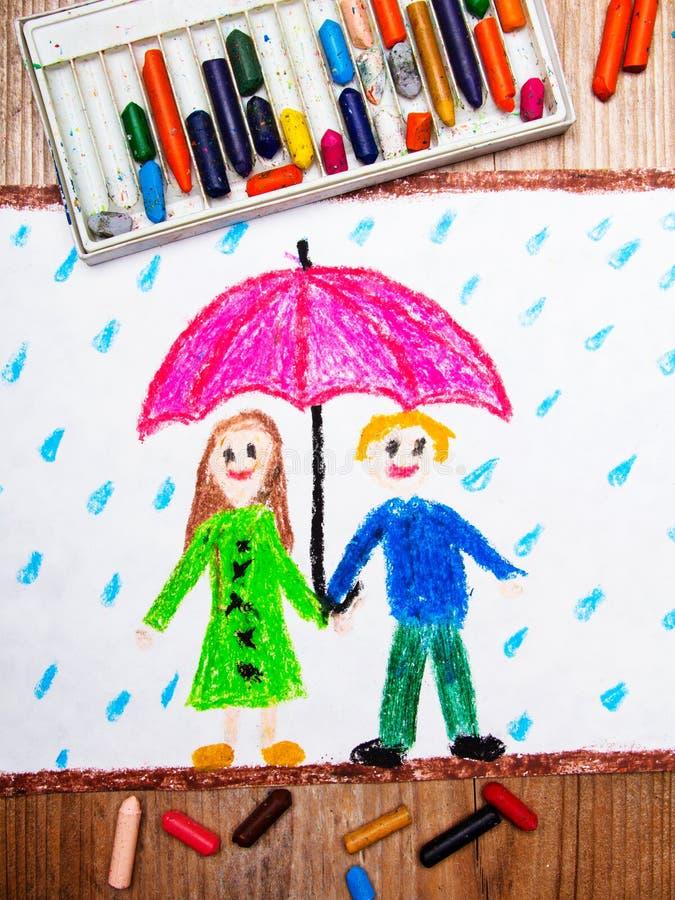 Lyckliga par under det rosa paraplyet, regnigt väder vektor illustrationer