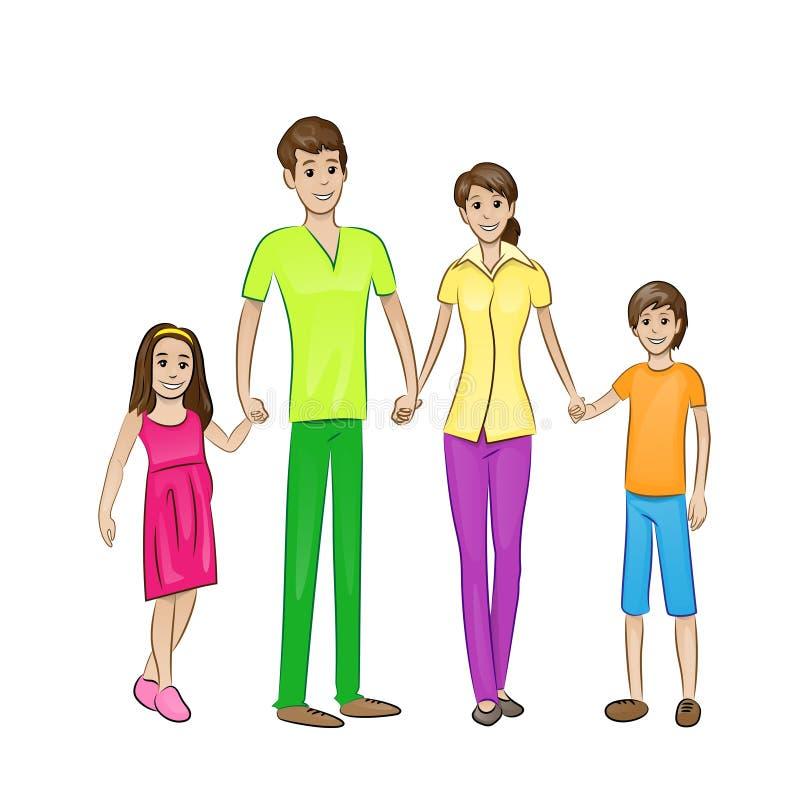 Lyckliga personer för familj fyra, föräldrar med två royaltyfri illustrationer