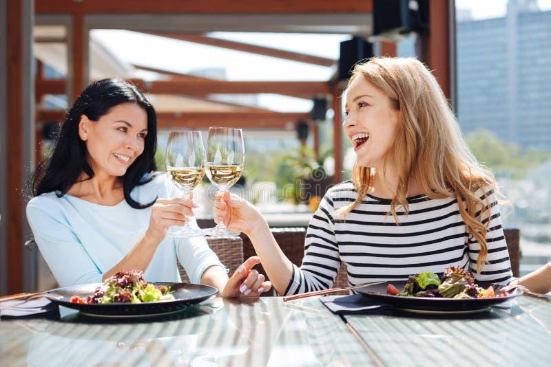 Lyckliga positiva kvinnor som dricker vin royaltyfria foton