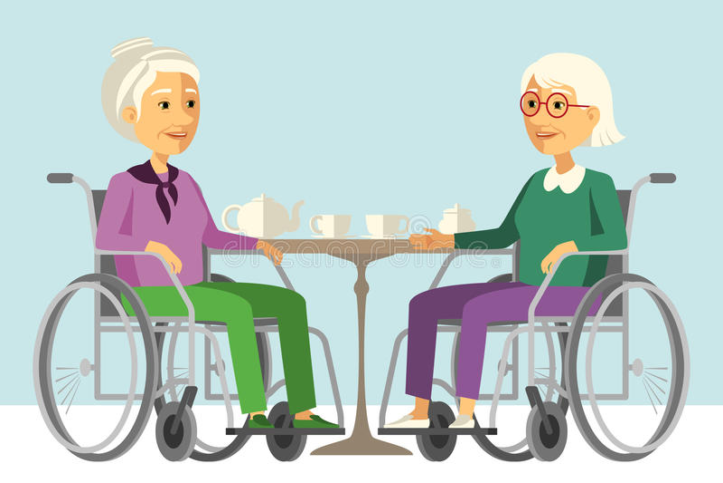 Lyckliga rörelsehindrade höga kvinnor i rullstolen som har tetid stock illustrationer