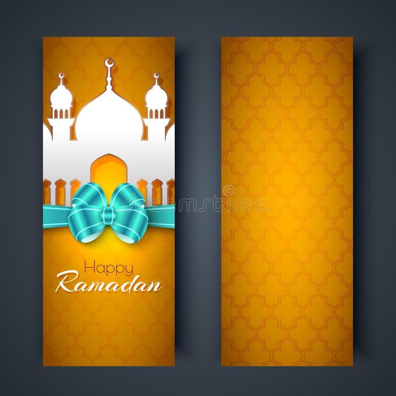 Lyckliga Ramadanhälsningkort eller baner stock illustrationer