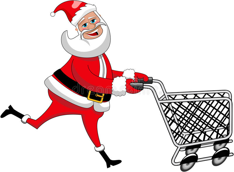 Lyckliga Santa Claus Running Pushing Empty Cart royaltyfri illustrationer