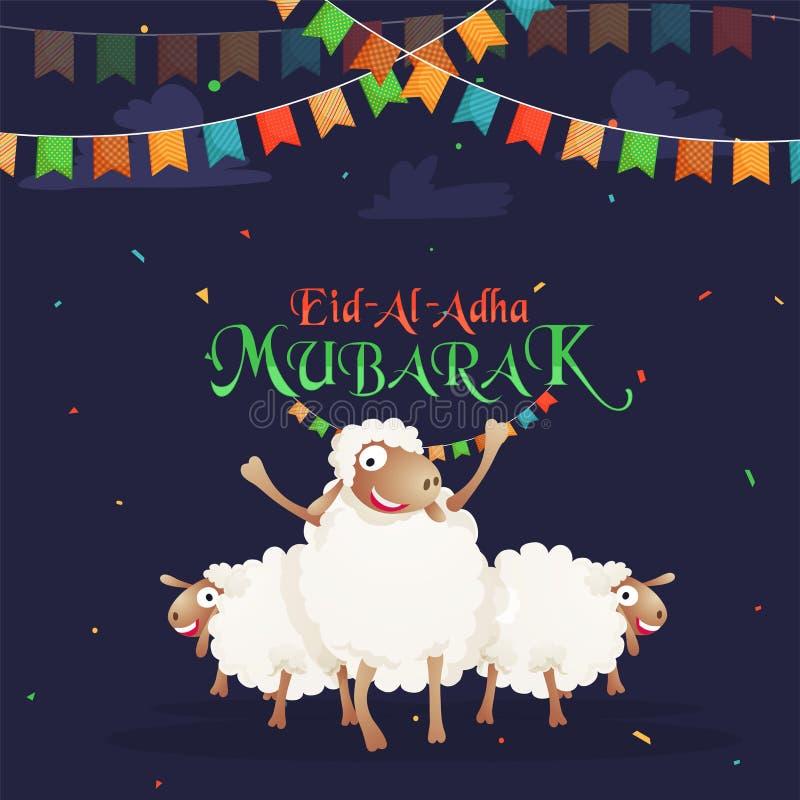 Lyckliga sheeps och buntingflaggor på konfettier slösar bakgrund Eid- stock illustrationer