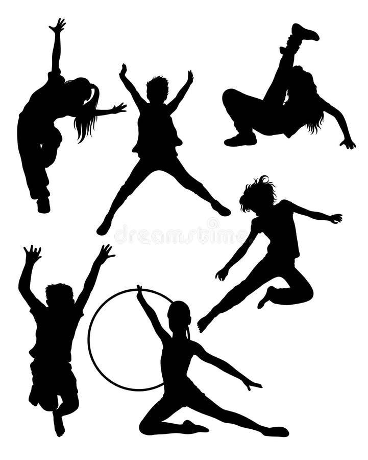 lyckliga silhouettes för barn vektor illustrationer