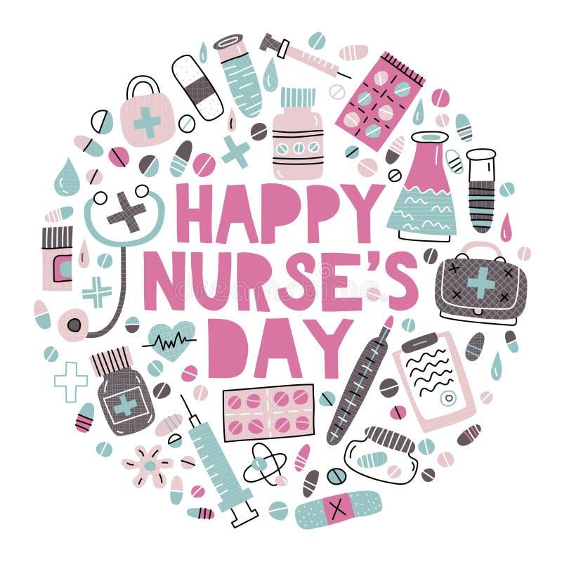 Lyckliga sjuksköterskas dag arkivfoton
