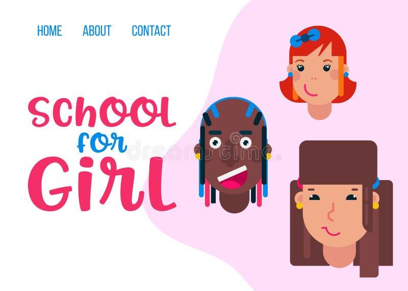 Lyckliga skolaflickor vänder mot av olik mall för nationalitetvektorrengöringsduk tillbaka skola till Det roliga tecknad filmteck stock illustrationer