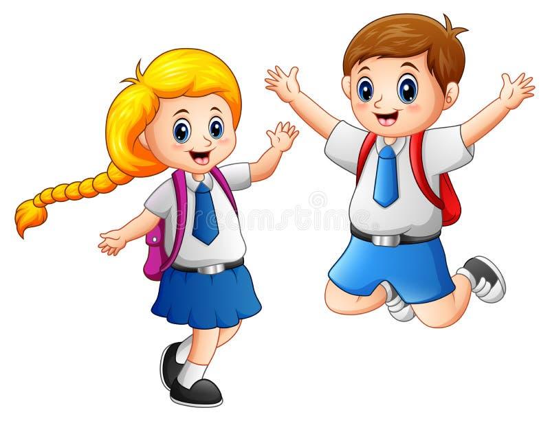 Lyckliga skolaungar i en skolalikformig stock illustrationer