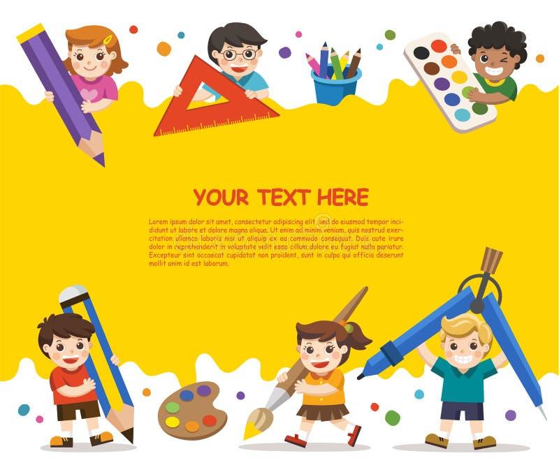 Lyckliga skolaungar med beståndsdelar av skolan stock illustrationer