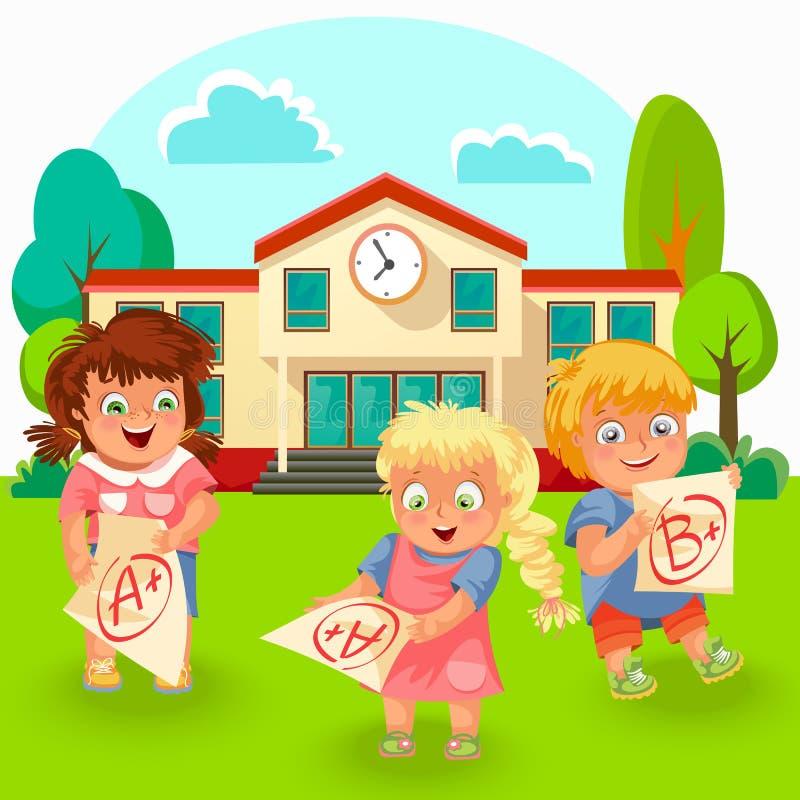 Lyckliga skolbarn med den bra kvalitetsaffischen vektor illustrationer
