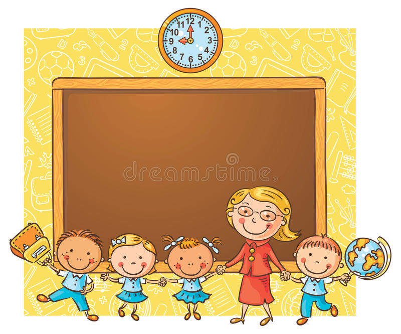 Lyckliga skolbarn med deras lärare på svart tavla royaltyfri illustrationer